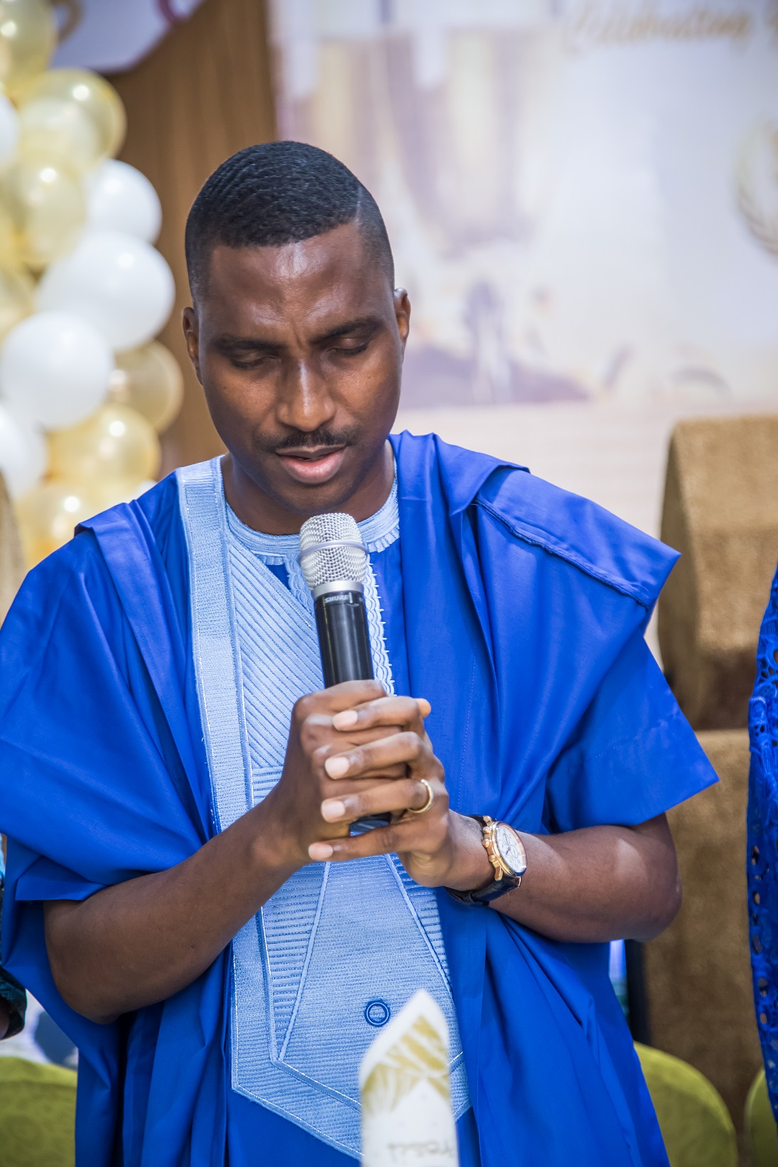 Celebrant's brother, Pastor Korede Komaiya handling opening prayer