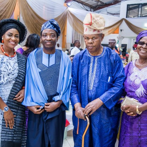 Celebrant & Wife with Chief Adeboye Badejo (Former ICAN President) and his wife