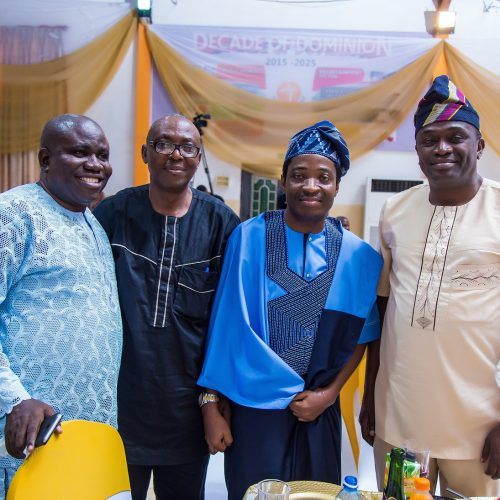 (L-R) Rev. Abiodun Oso (MD, Meganet Mobile Ltd.), Mr. Femi Sanni, Celebrant and Mr. Babatunde Ojo