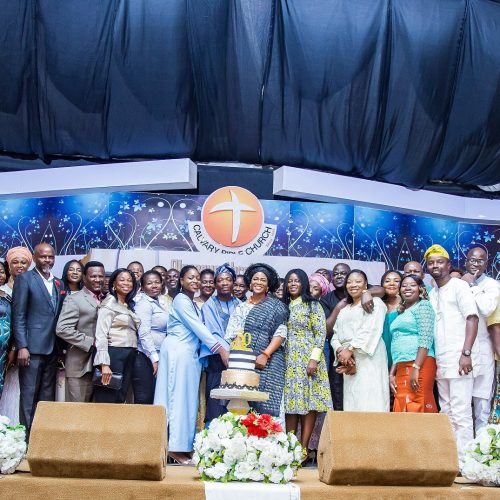 Celebrant, wife & daughter with ministers and leaders from Calvary Bible Church, Lagos