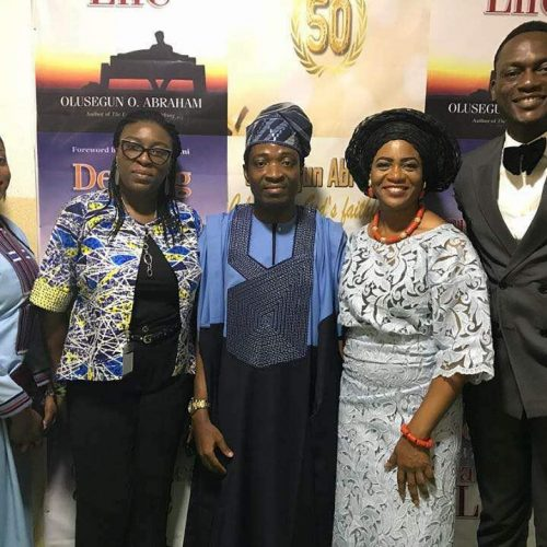 (L-R) Joy Abraham, Mrs. Damilola Hassan(MC), Celebrant & wife and Mr. Olaseni Fawehinmi (MC)