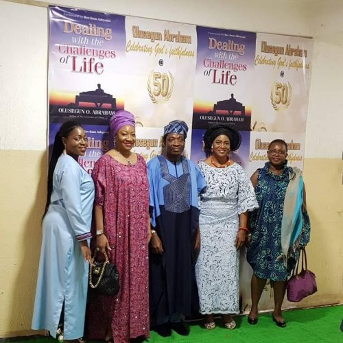 (L-R) Joy Abraham (Celebrant's daughter), Mrs. Muni Shonibare (MD, I O Furniture Ltd), Celebrant, & wife  & Ms. Funmi Shobo (ED @ I O Furniture Ltd.)