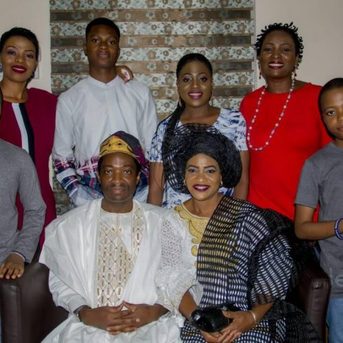 Celebrant, wife & daughter with family members