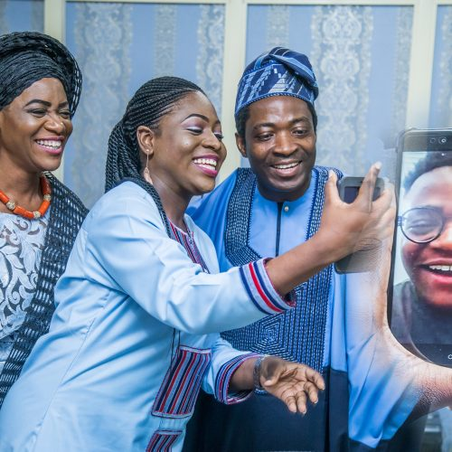 Celebrant, wife & daughter sharing joyful moment with son, Akinwole online